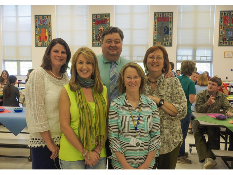 Empty Bowls organizers included (from l.) Assistant Principal Debbie O'Byrne, art teacher Laurie Basham, Principal David Brown, FACS teacher Margie Brown and sixth grade team leader Mary Powers.